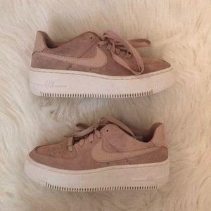 Nike Women Blush Pink Platform Air Force Ones